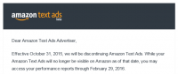 Amazon publicizes end Of text advertisements software Two Months After Its Launch