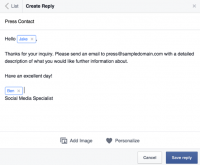 "fb Is testing ""Saved Replies"" To help Pages take care of customer service Messages"