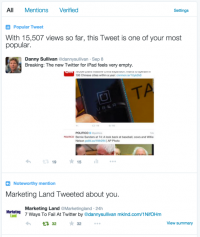 Twitter Is displaying Analytics Highlights within the Notification Tab Of verified customers