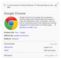 "Bing Pushes Microsoft's part Browser When folks seek for ""Chrome"" Or ""Firefox"""