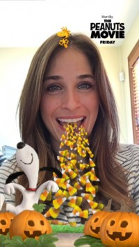 """Snapchat's First sponsored Lens options """"Peanuts"""" & A candy Corn flow"""
