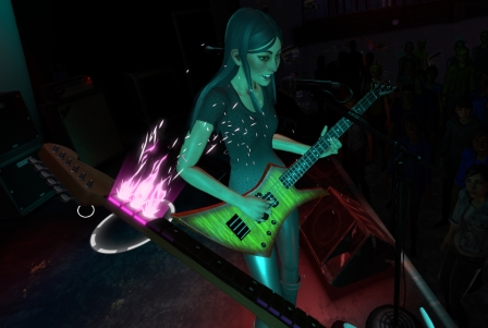 Rockband VR is a completely different kind of guitar game