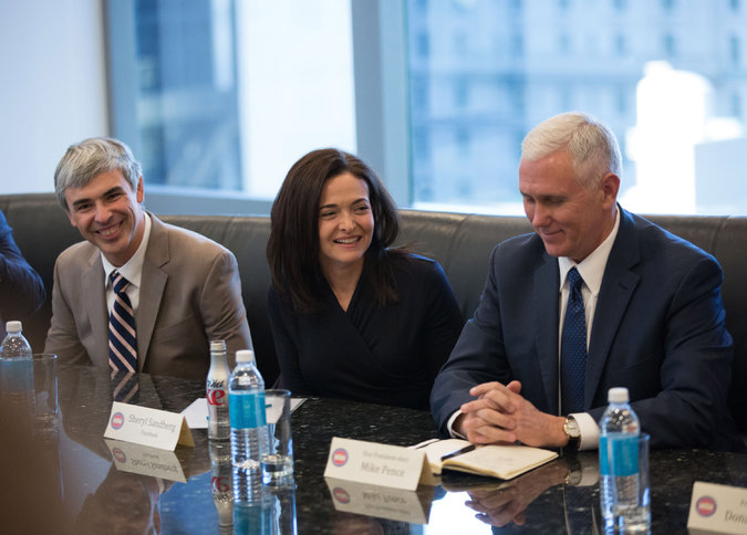 From left, Larry Page of Alphabet, Sheryl Sandberg of Facebook and Mike Pence at a meeting between Mr. Trump's team and tech company executives in December. Some tech companies are in a similar predicament to Google, with a perception that they lean left, and are now pledging to work with Mr. Trump