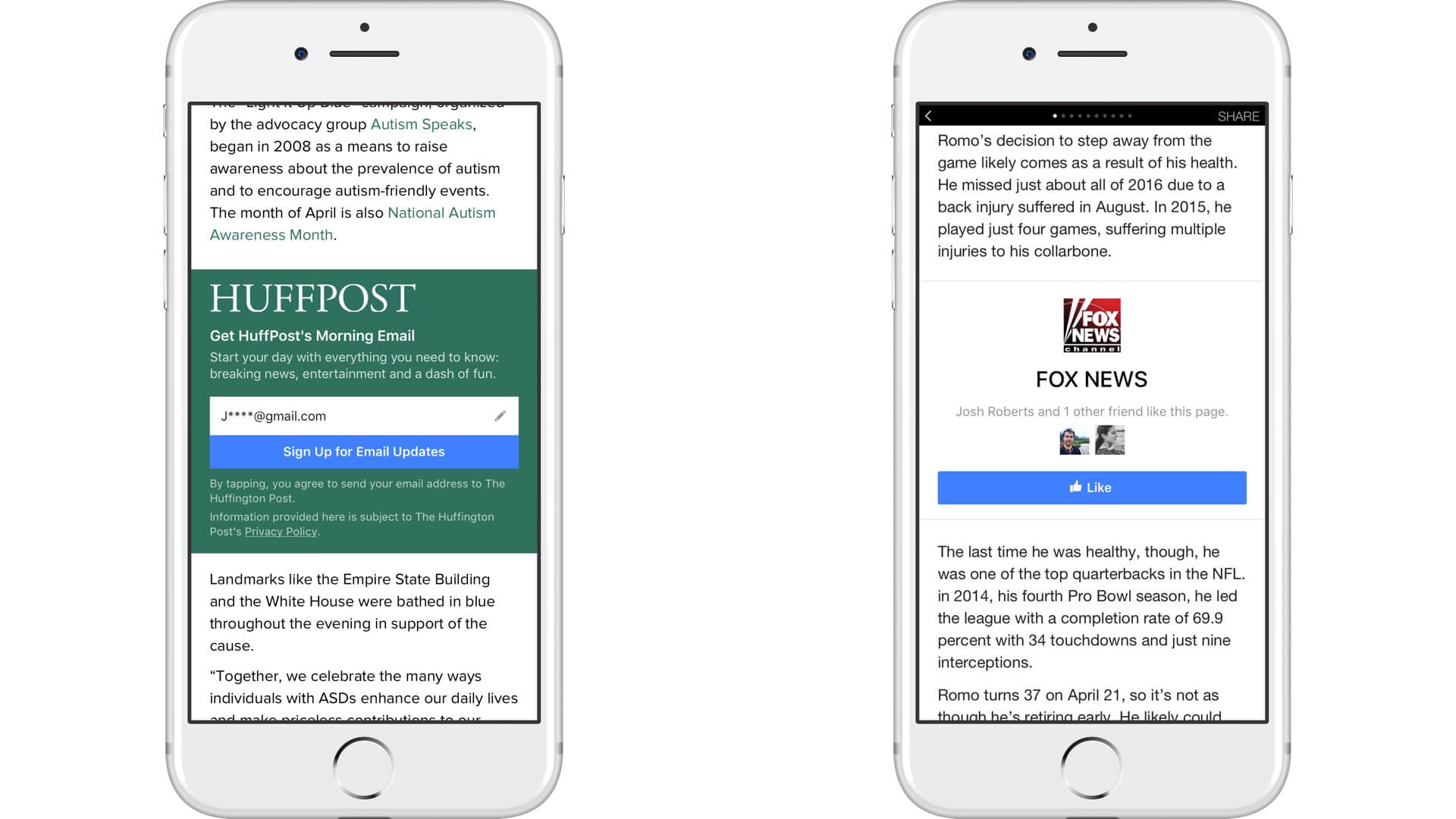 Facebook adds email signup & Page Like call-to-action buttons to Instant Articles