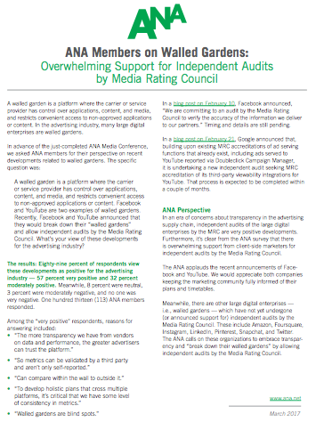 ANA Calls On 'Walled Gardens' To Submit To Indie Audits By MRC