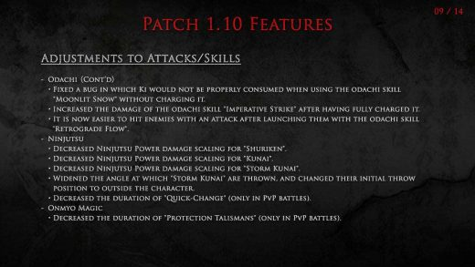 Nioh Update 1.10 Released: Nerfs To Throwing Stars and Kunai And Several Other Items Included [English Patch Notes]