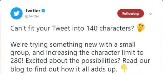 Twitter Flirts with 280 Character Count
