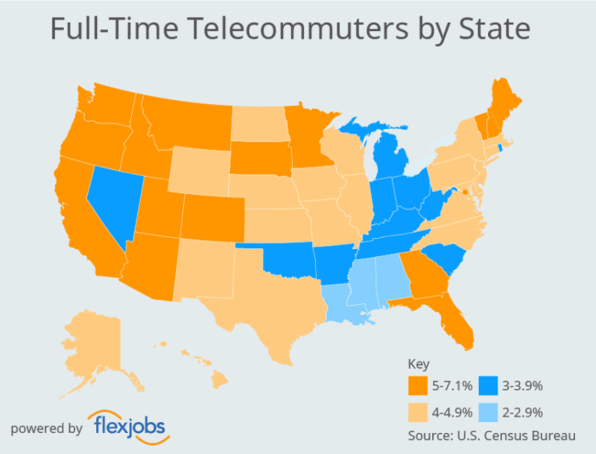 These are the states where the most people work from home | DeviceDaily.com