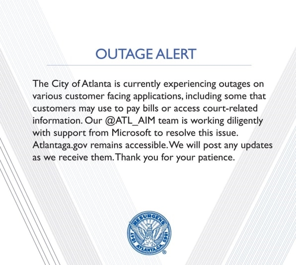 Atlanta mayor cautions public after city computers hit by ransomware | DeviceDaily.com