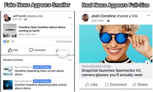 Facebook shrinks fake news links in hopes you'll miss them