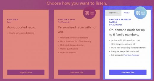 Pandora unveils a $15-a-month unlimited family plan