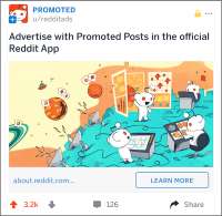 Reddit gives advertisers the option to include call-to-action buttons in ads