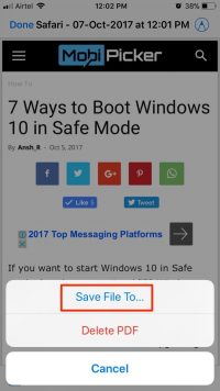 How to Save a Webpage as PDF in iOS 11
