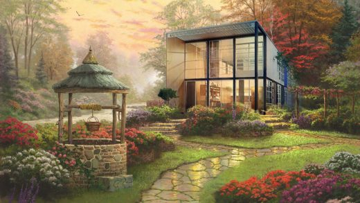Famous modernist homes get a horrifying Thomas Kinkade makeover