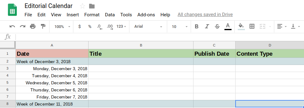 editorial calendar in Google sheets | DeviceDaily.com