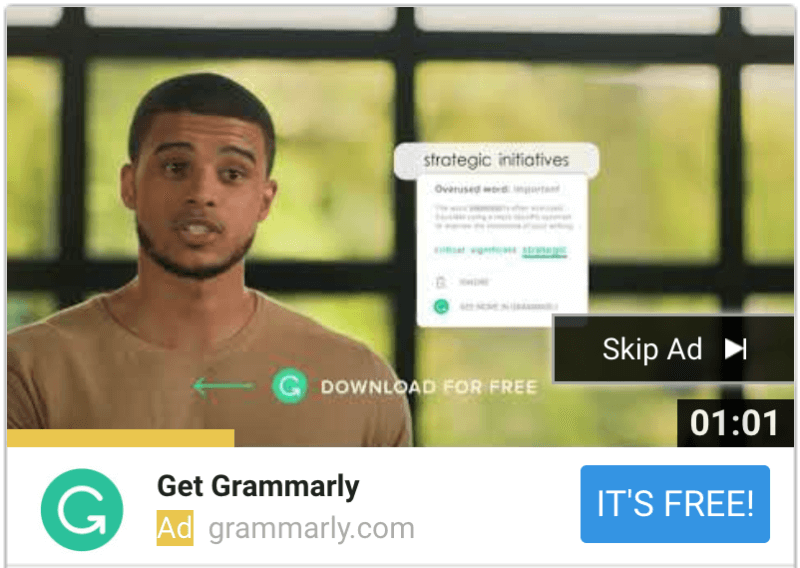Grammarly tops YouTube's TrueView for Action 2018 leaderboard | DeviceDaily.com