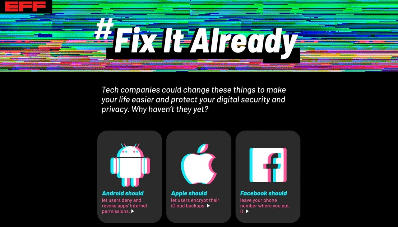 EFF Targets Eight Tech Companies In 'Fix It Already' Campaign | DeviceDaily.com
