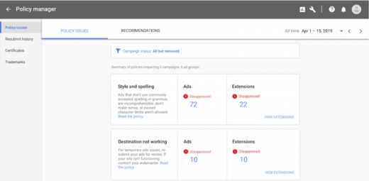 Google launching Policy manager in Google Ads
