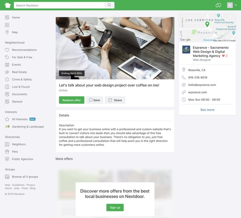 How a Nextdoor Offer page looks. | DeviceDaily.com