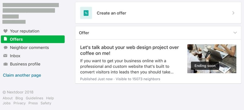 An offer in the Nextdoor Business Page Offers tab. | DeviceDaily.com
