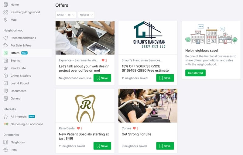 The offers tab of Nextdoor. | DeviceDaily.com