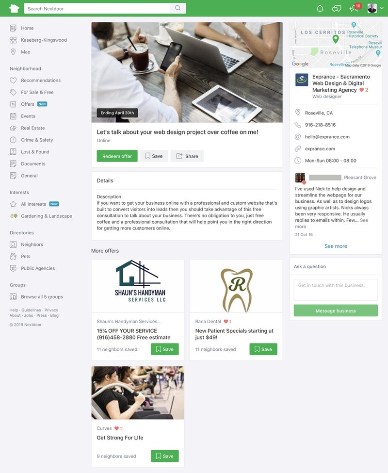 A full Nextdoor Offer with neighborhood business offers. | DeviceDaily.com