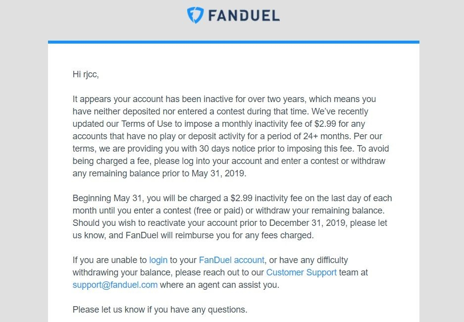 FanDuel applies a $3 inactivity fee to your old daily fantasy account | DeviceDaily.com