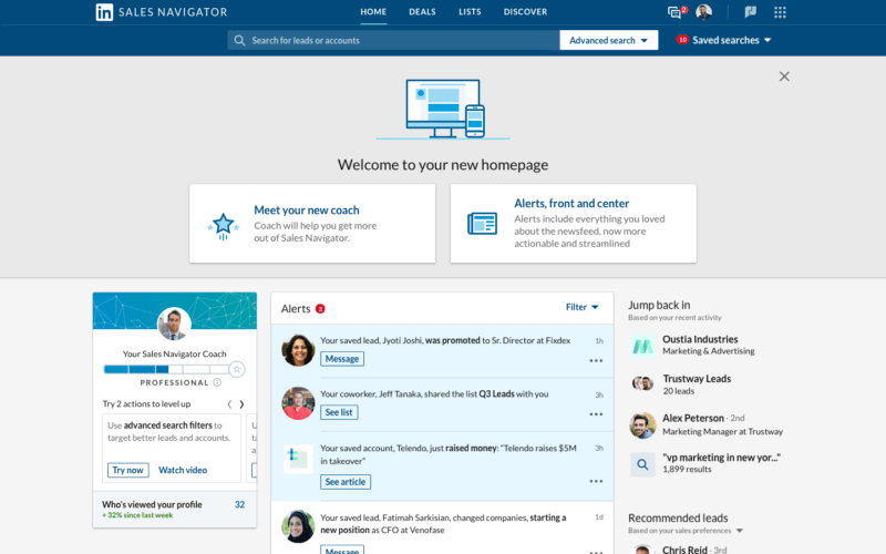 LinkedIn refreshes Sales Navigator homepage to put focus on alerts | DeviceDaily.com