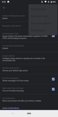 New Gmail For Android Features 'Buggy' Dark Theme