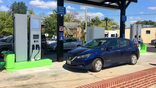 This gas station is the first in the U.S. to convert to all-electric vehicle chargers