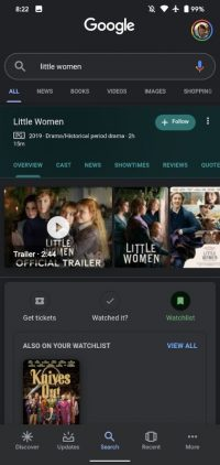 Google Search now lets you add movies and shows to a 'Watchlist'