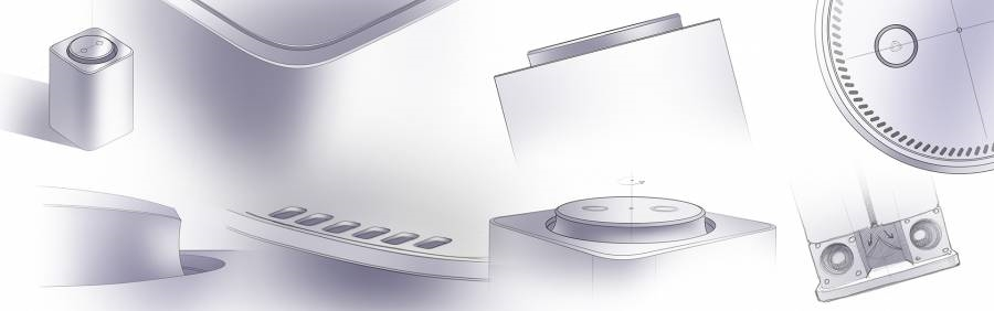 Sketches of Yandex.Station, a smart speaker with a voice assistant Alice | DeviceDaily.com