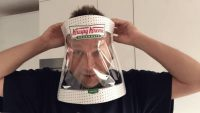 Watch as this man turns a Krispy Kreme box into a DIY PPE face shield