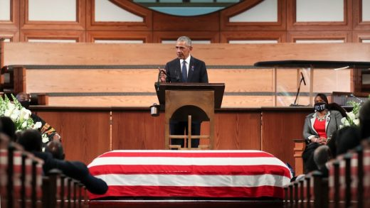 Barack Obama blasts attacks on voting rights during John Lewis's funeral