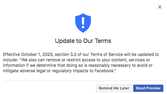 Facebook 'Update to Our Terms' October 2020: Here's what that weird message is all about | DeviceDaily.com