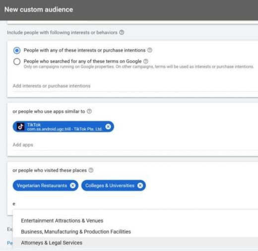 Google custom audiences, the combo of custom affinity and custom intent audiences, now live