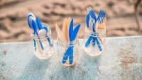 These carbon-negative, ocean-degradable straws and forks are made from greenhouse gases