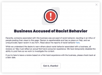 Yelp's new labels will warn you if a business has been accused of racism