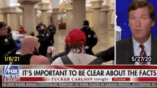 This clever edit of Tucker Carlson pairs his anti-BLM rants with Capitol siege footage