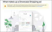 Google To Remove Showcase Shopping Ads