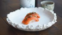 The salmon in this sushi didn't come from the ocean—it was harvested from a bioreactor