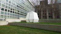 This origami-inspired shelter is designed for fast post-disaster housing
